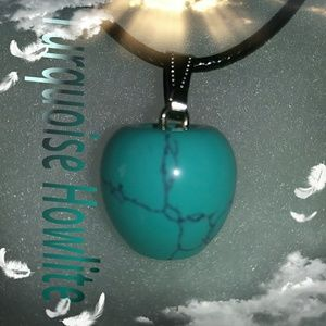Turquoise Howlite Apple Crystal Necklace